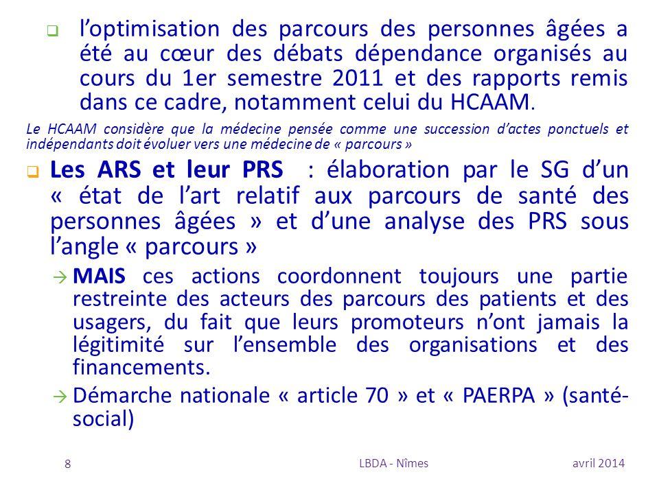  Développer des projets sur la coordination des parcours des patients  Indicateurs HAS en 2013 :  BPCO  Asthme  Diabète  Hypertension  Guide pour l'amélioration de la pertinence des soins (DGOS)  8 projets (BPCO, diabète, cancers, urgences…)  Un financement au parcours de soins centré sur le malade avril 2014LBDA - Nîmes 29