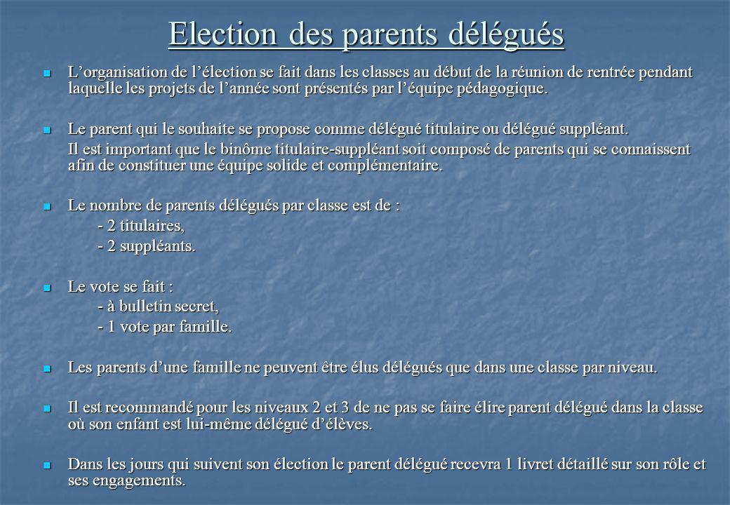 Election des parents délégués L'organisation de l'élection se fait dans les classes au début de la réunion de rentrée pendant laquelle les projets de