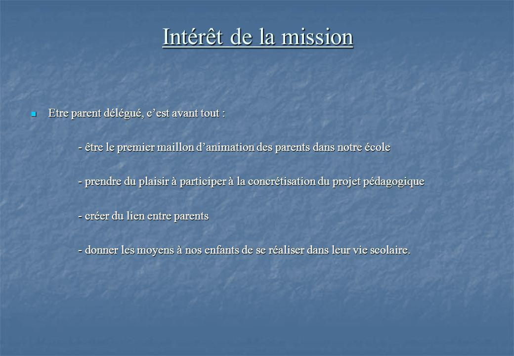Intérêt de la mission Etre parent délégué, c'est avant tout : Etre parent délégué, c'est avant tout : - être le premier maillon d'animation des parent