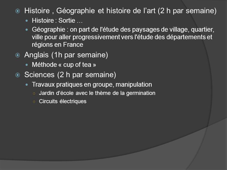  Histoire, Géographie et histoire de l'art (2 h par semaine) Histoire : Sortie … Géographie : on part de l'étude des paysages de village, quartier, v