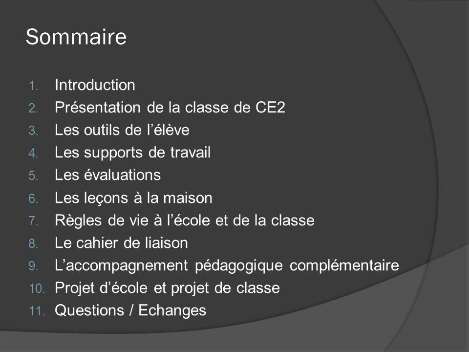 Sommaire 1. Introduction 2. Présentation de la classe de CE2 3. Les outils de l'élève 4. Les supports de travail 5. Les évaluations 6. Les leçons à la