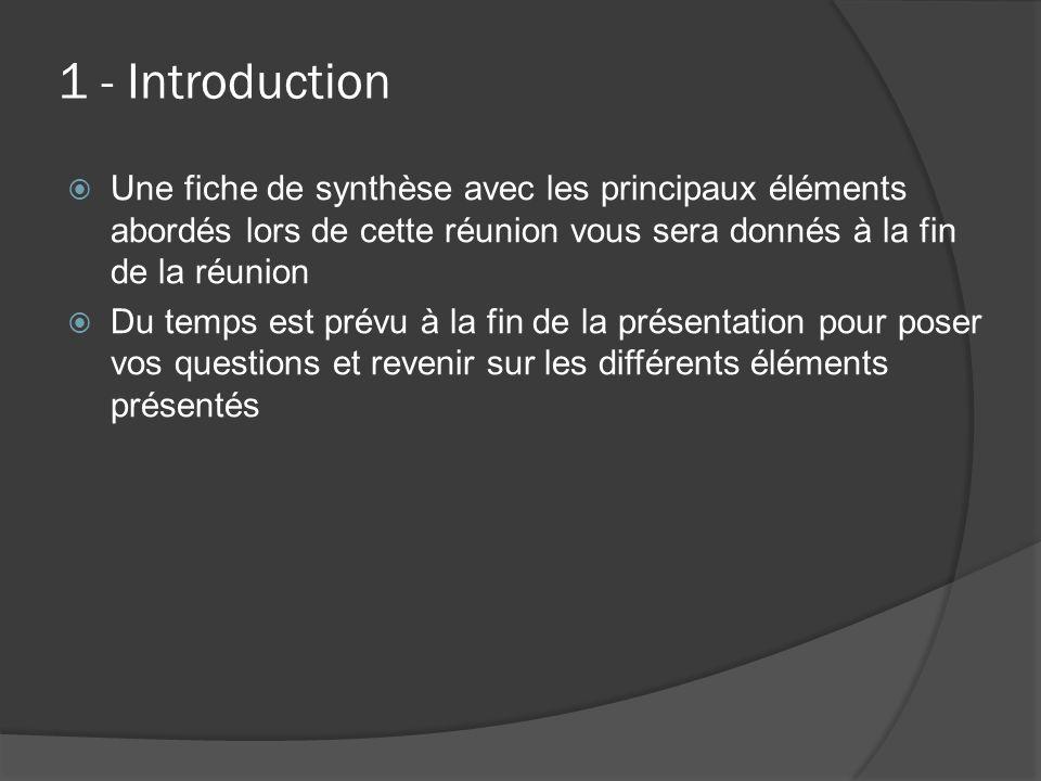 1 - Introduction  Une fiche de synthèse avec les principaux éléments abordés lors de cette réunion vous sera donnés à la fin de la réunion  Du temps