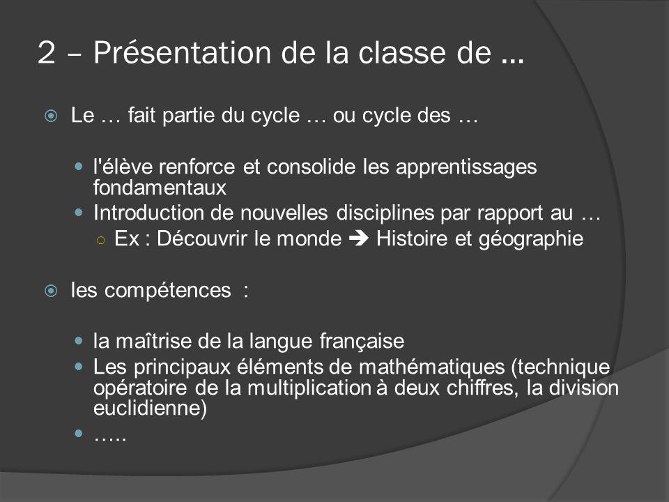 2 – Présentation de la classe de …  Le … fait partie du cycle … ou cycle des … l'élève renforce et consolide les apprentissages fondamentaux Introduc