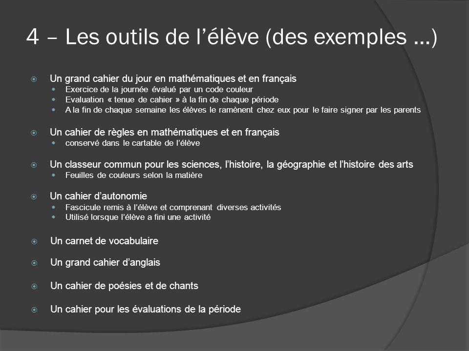 4 – Les outils de l'élève (des exemples …)  Un grand cahier du jour en mathématiques et en français Exercice de la journée évalué par un code couleur
