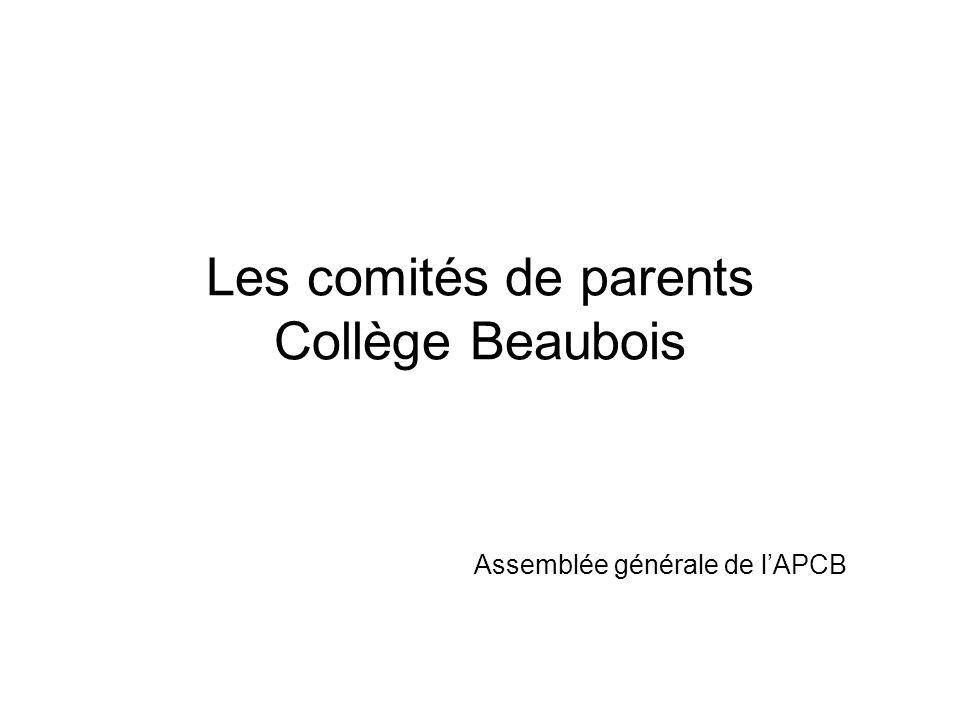 CA de l'APCB Comité consultatif du primaire Comité consultatif du secondaire CA du Collège Beaubois Assemblée générale APCB Liaison (VP) Liaison (VP) La Fondation du Collège Beaubois Nomination 4 parents Liaison par la présidence