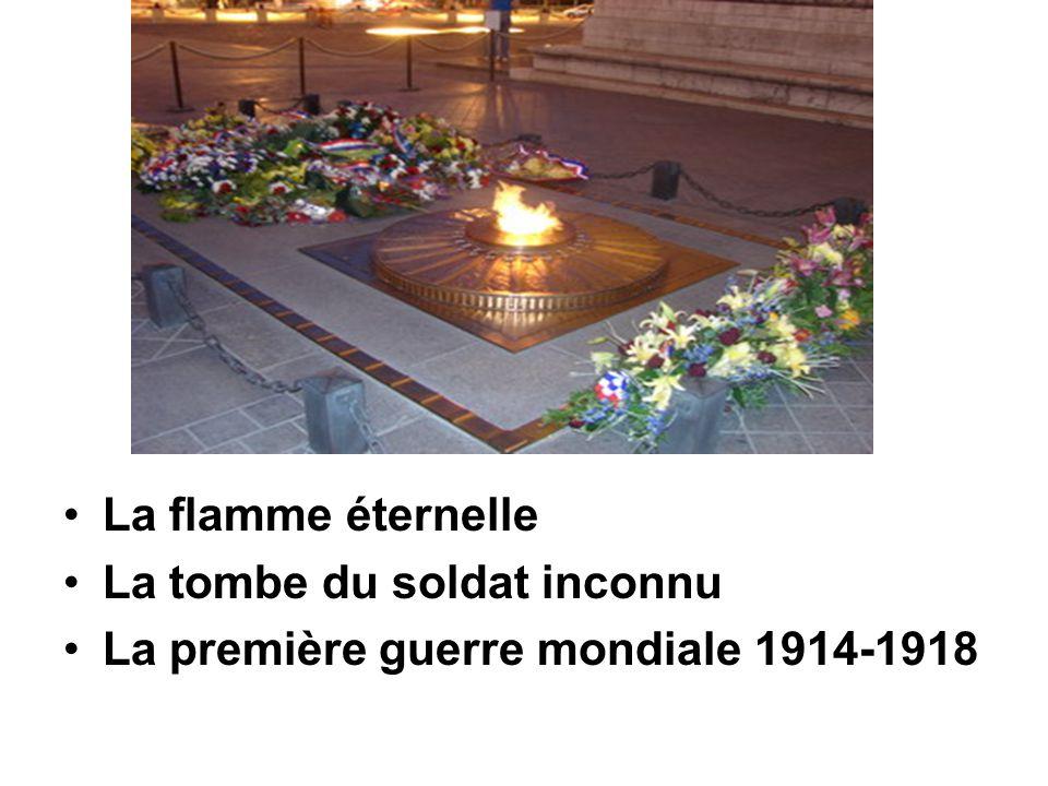 La flamme éternelle La tombe du soldat inconnu La première guerre mondiale 1914-1918