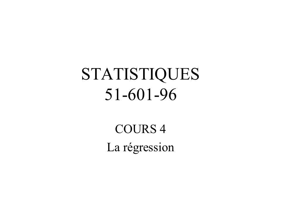 STATISTIQUES 51-601-96 COURS 4 La régression