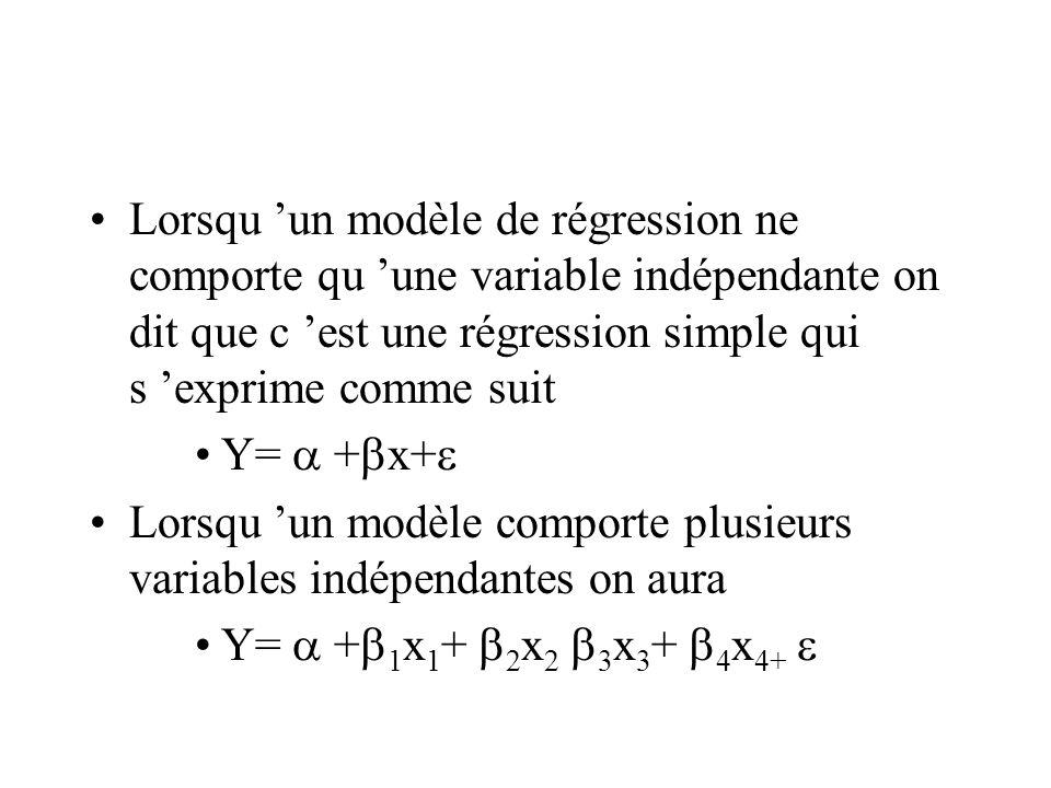 Lorsqu 'un modèle de régression ne comporte qu 'une variable indépendante on dit que c 'est une régression simple qui s 'exprime comme suit Y=  +  x+  Lorsqu 'un modèle comporte plusieurs variables indépendantes on aura Y=  +  1 x 1 +  2 x 2  3 x 3 +  4 x 4+ 