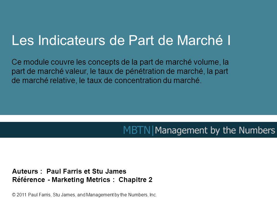 Les Indicateurs de Part de Marché I Ce module couvre les concepts de la part de marché volume, la part de marché valeur, le taux de pénétration de mar