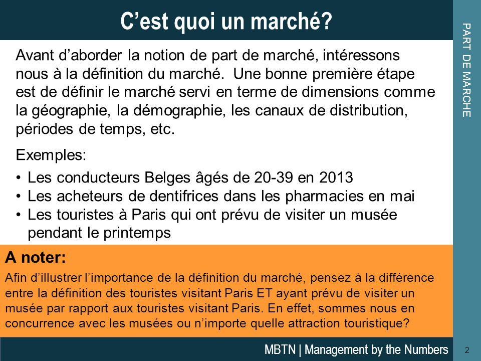 P ART DE MARCHÉ : EXEMPLE D ' APPLICATION 13 Part de Marché: Exemple d'application MBTN | Management by the Numbers Réponses : La part de marché relative de Cafav en volume = 7,5% / 35% = 0,214 La part de marché relative de Boffo (Valeur)= 30% / 28% = 1,07 (Note: ou 1,0 en utilisant la méthode de mesure alternative de PDMR) La concentration de marché de 3 entreprises dans le sud = 35%+20%+20% = 75% le taux de concentration de 4 entreprises (en valeur)= 30%+28%+18%+12% = 88% Chiffre d'affairesVolumes Total(Sud)(Nord) Alfa € 9 000200250 Boffo € 15 000100200 Cafav € 6 0001500 Defy € 6 000200 Efizz € 14 000350 Total € 50 0001 000