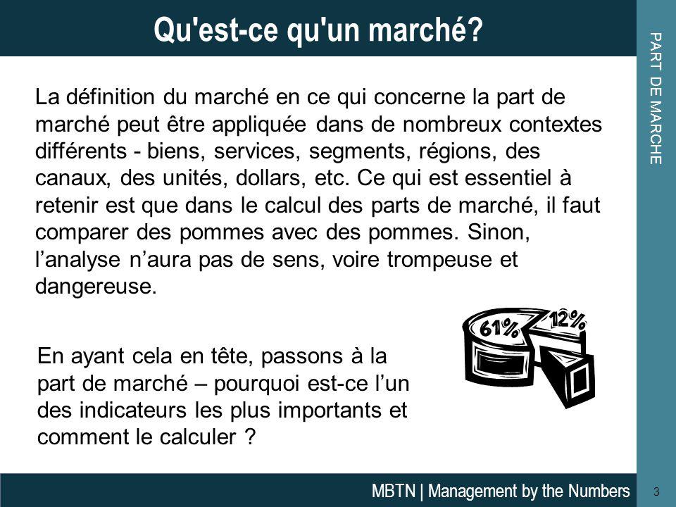 PART DE MARCHE 3 Qu'est-ce qu'un marché? MBTN | Management by the Numbers La définition du marché en ce qui concerne la part de marché peut être appli