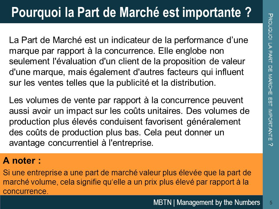 La Part de Marché est un indicateur de la performance d'une marque par rapport à la concurrence. Elle englobe non seulement l'évaluation d'un client d