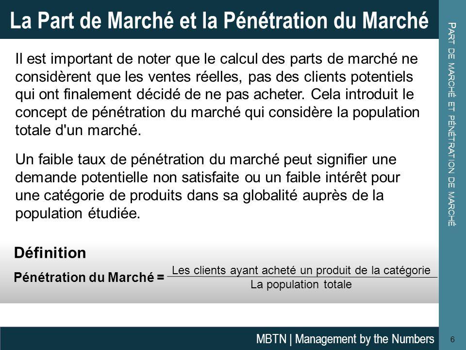 P ART DE MARCHÉ ET PÉNÉTRATION DE MARCHÉ 6 La Part de Marché et la Pénétration du Marché MBTN | Management by the Numbers Définition Pénétration du Ma