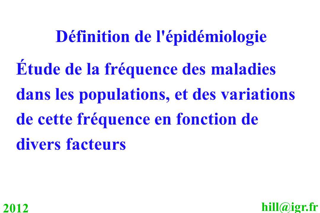 hill@igr.fr 2012 Définition de l épidémiologie Étude de la fréquence des maladies dans les populations, et des variations de cette fréquence en fonction de divers facteurs
