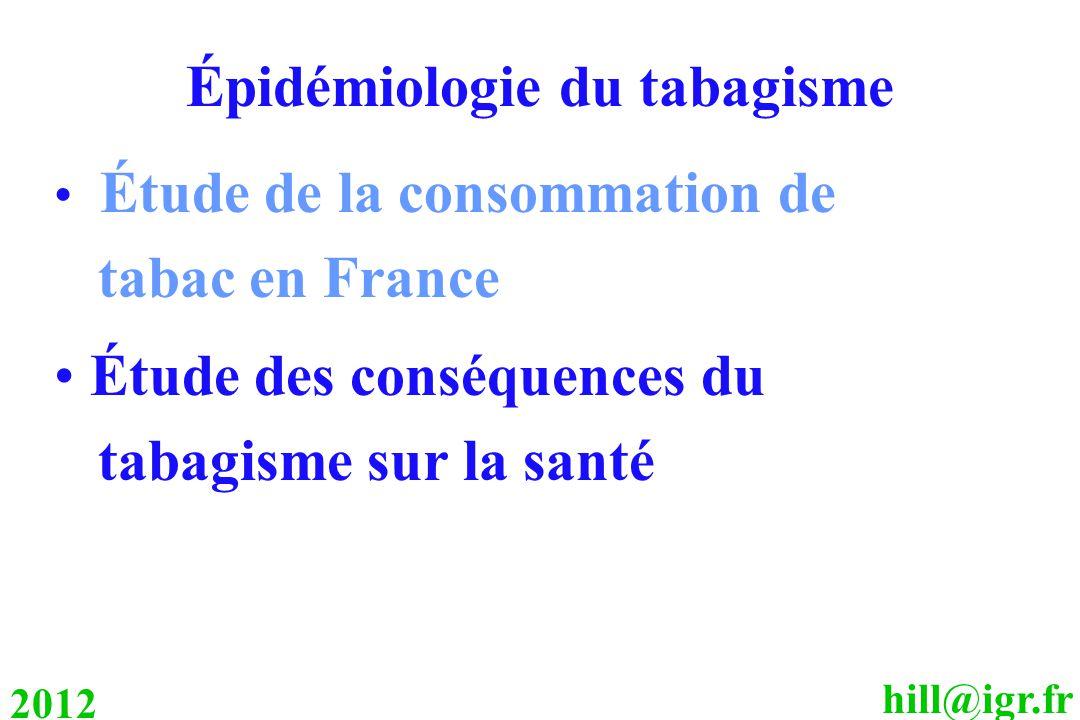 hill@igr.fr 2012 Épidémiologie du tabagisme Étude de la consommation de tabac en France Étude des conséquences du tabagisme sur la santé