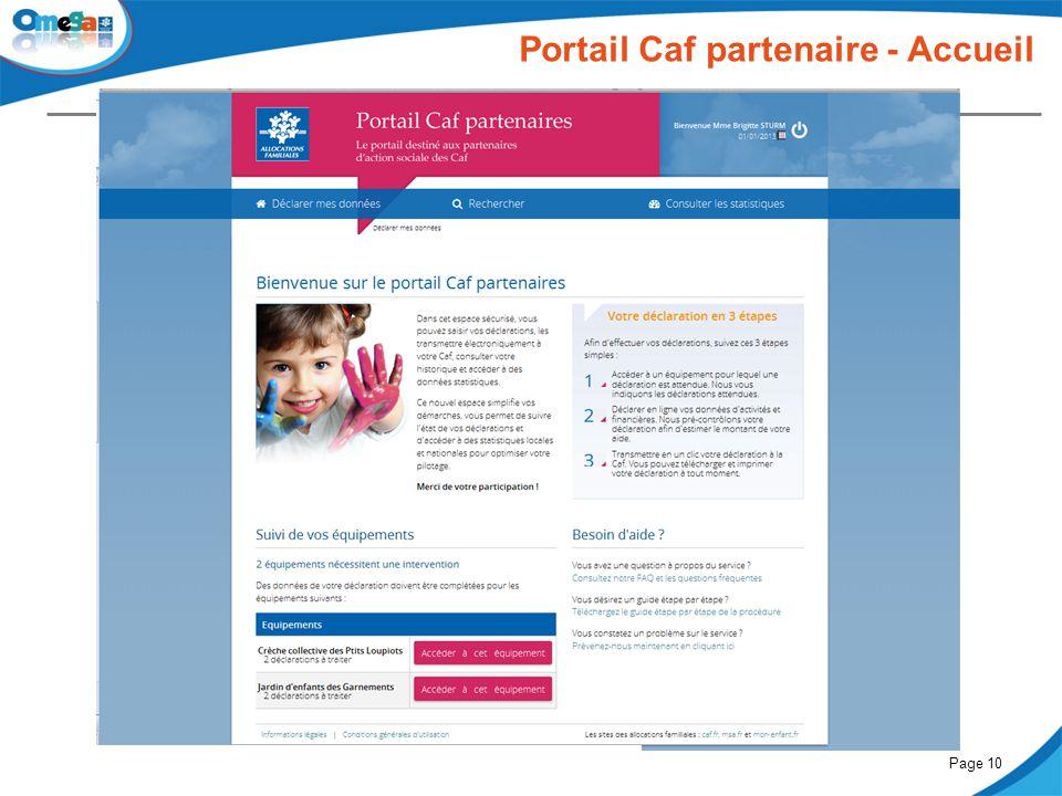 27 mai 2014Comité partenarial « Petite enfance »Page 10 Portail Caf partenaire - Accueil