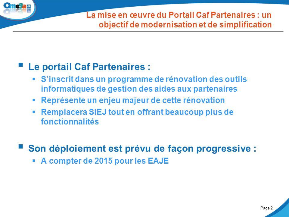 27 mai 2014Comité partenarial « Petite enfance »Page 2  Le portail Caf Partenaires :  S'inscrit dans un programme de rénovation des outils informati