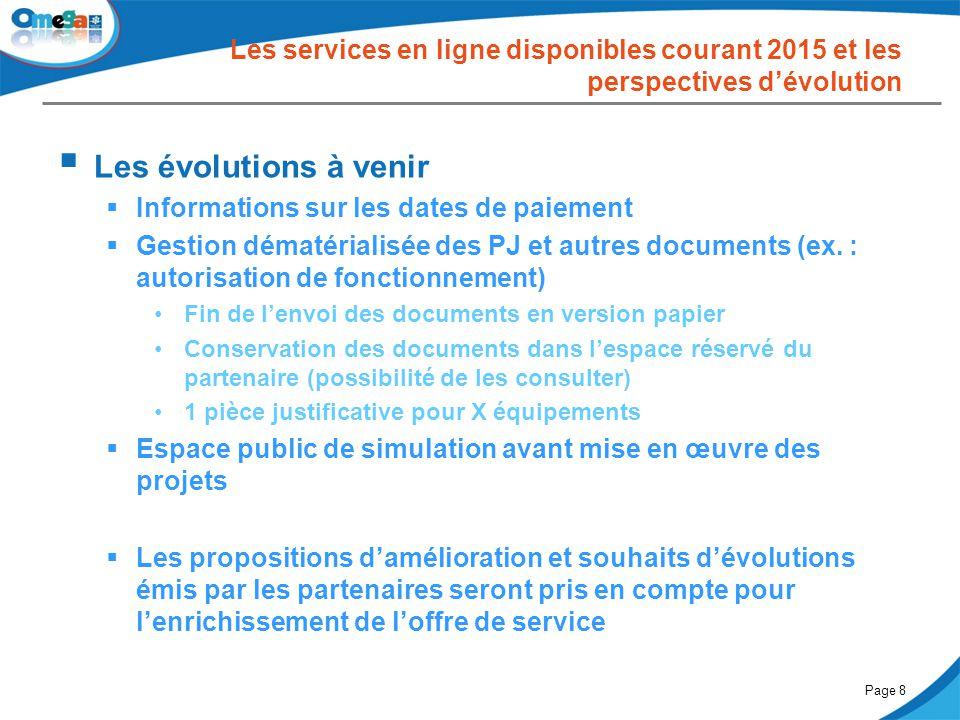 27 mai 2014Comité partenarial « Petite enfance »Page 8 Les services en ligne disponibles courant 2015 et les perspectives d'évolution  Les évolutions
