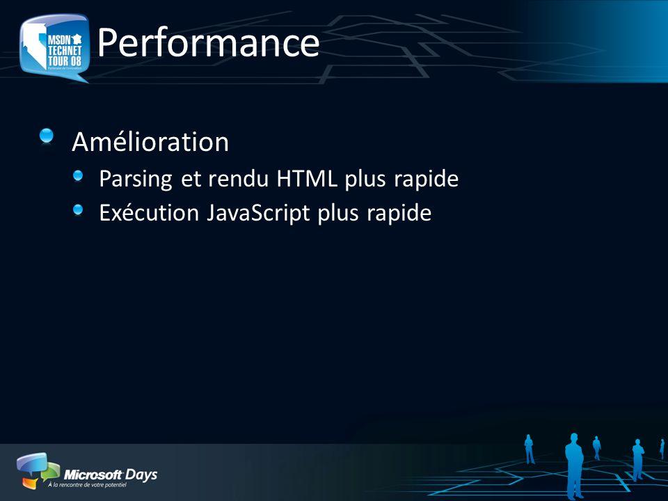 Performance Amélioration Parsing et rendu HTML plus rapide Exécution JavaScript plus rapide