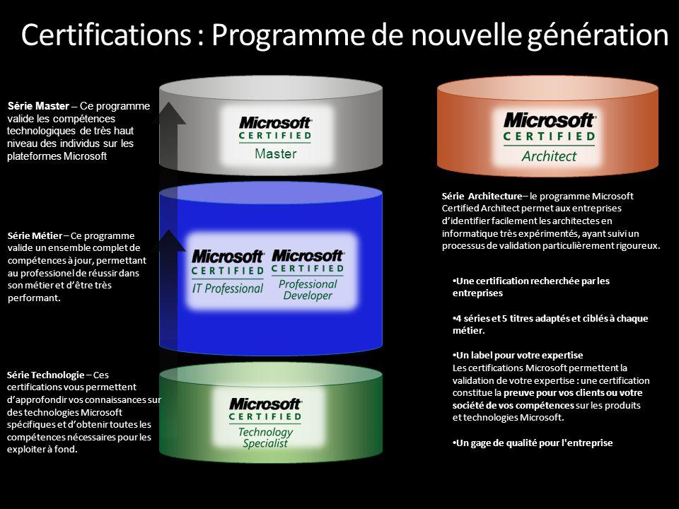 Certifications : Programme de nouvelle génération Série Architecture– le programme Microsoft Certified Architect permet aux entreprises d'identifier facilement les architectes en informatique très expérimentés, ayant suivi un processus de validation particulièrement rigoureux.