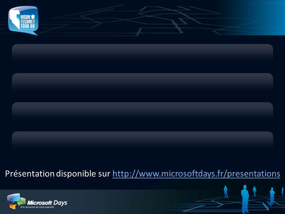Présentation disponible sur Présentation disponible sur http://www.microsoftdays.fr/presentationshttp://www.microsoftdays.fr/presentations