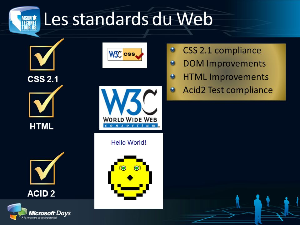 Les standards du Web HTML ACID 2 CSS 2.1 CSS 2.1 compliance DOM Improvements HTML Improvements Acid2 Test compliance CSS 2.1 compliance DOM Improvements HTML Improvements Acid2 Test compliance