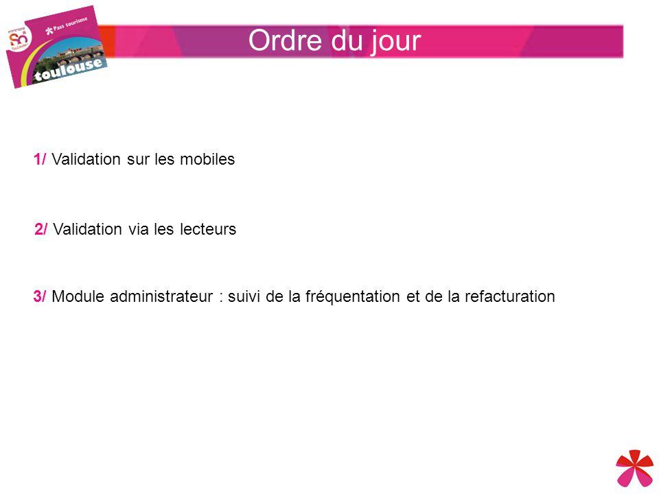 1/ Validation sur les mobiles 3/ Module administrateur : suivi de la fréquentation et de la refacturation 2/ Validation via les lecteurs Ordre du jour