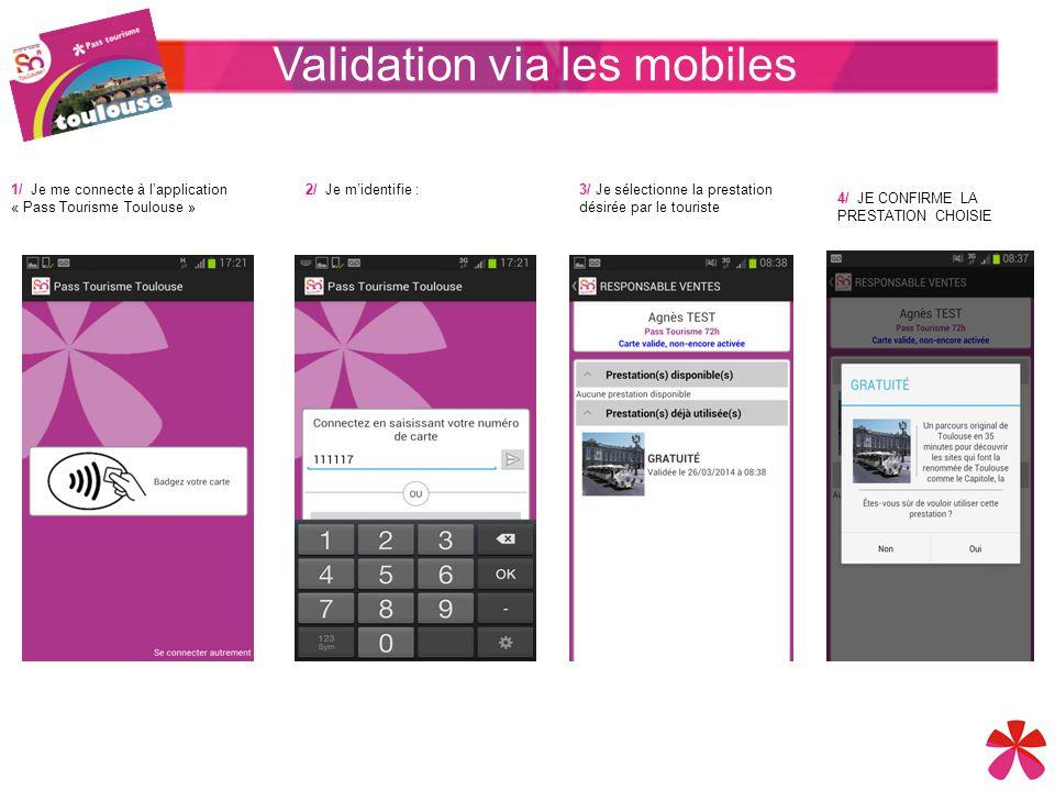 1/ Je me connecte à l'application « Pass Tourisme Toulouse » Validation via les mobiles 2/ Je m'identifie :3/ Je sélectionne la prestation désirée par