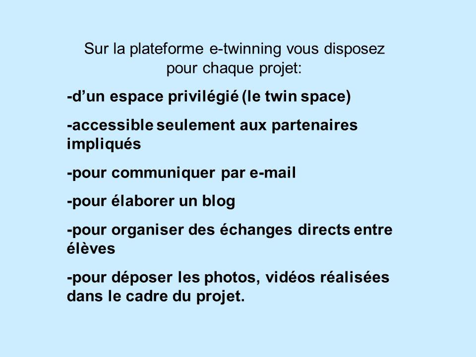 Sur la plateforme e-twinning vous disposez pour chaque projet: -d'un espace privilégié (le twin space) -accessible seulement aux partenaires impliqués -pour communiquer par e-mail -pour élaborer un blog -pour organiser des échanges directs entre élèves -pour déposer les photos, vidéos réalisées dans le cadre du projet.