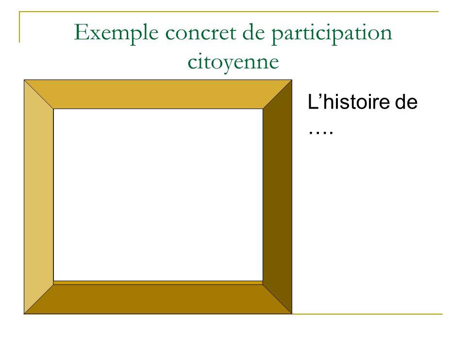 Exemple concret de participation citoyenne L'histoire de ….