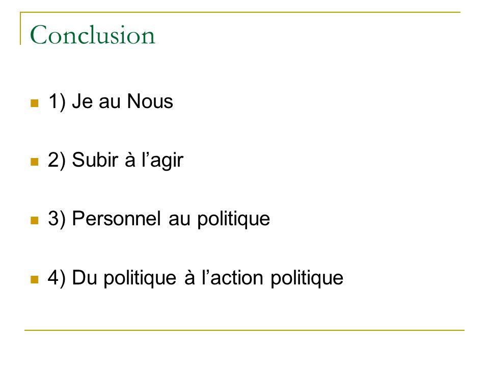 Conclusion 1) Je au Nous 2) Subir à l'agir 3) Personnel au politique 4) Du politique à l'action politique
