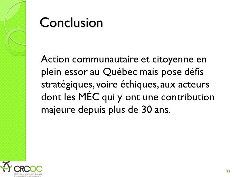 Conclusion Action communautaire et citoyenne en plein essor au Québec mais pose défis stratégiques, voire éthiques, aux acteurs dont les MÉC qui y ont une contribution majeure depuis plus de 30 ans.