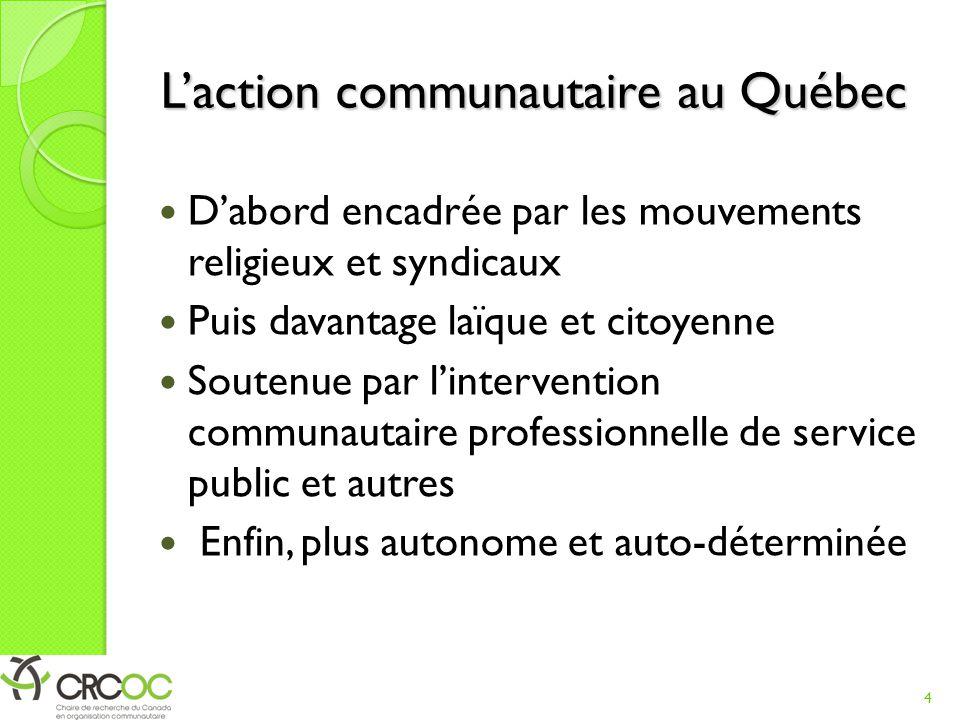 L'action communautaire au Québec D'abord encadrée par les mouvements religieux et syndicaux Puis davantage laïque et citoyenne Soutenue par l'intervention communautaire professionnelle de service public et autres Enfin, plus autonome et auto-déterminée 4