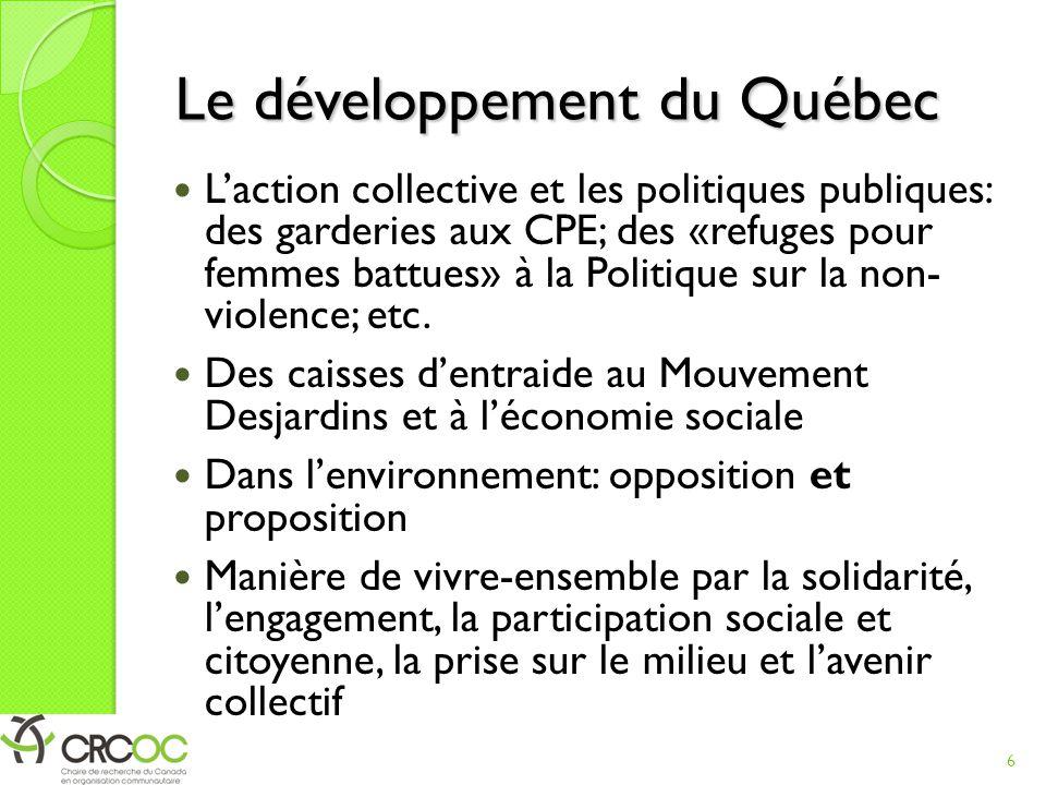 Le développement du Québec L'action collective et les politiques publiques: des garderies aux CPE; des «refuges pour femmes battues» à la Politique sur la non- violence; etc.
