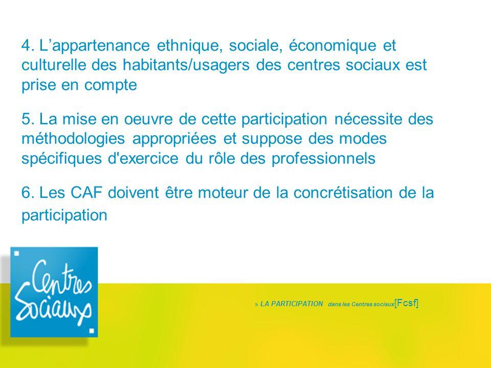 4. L'appartenance ethnique, sociale, économique et culturelle des habitants/usagers des centres sociaux est prise en compte 5. La mise en oeuvre de ce