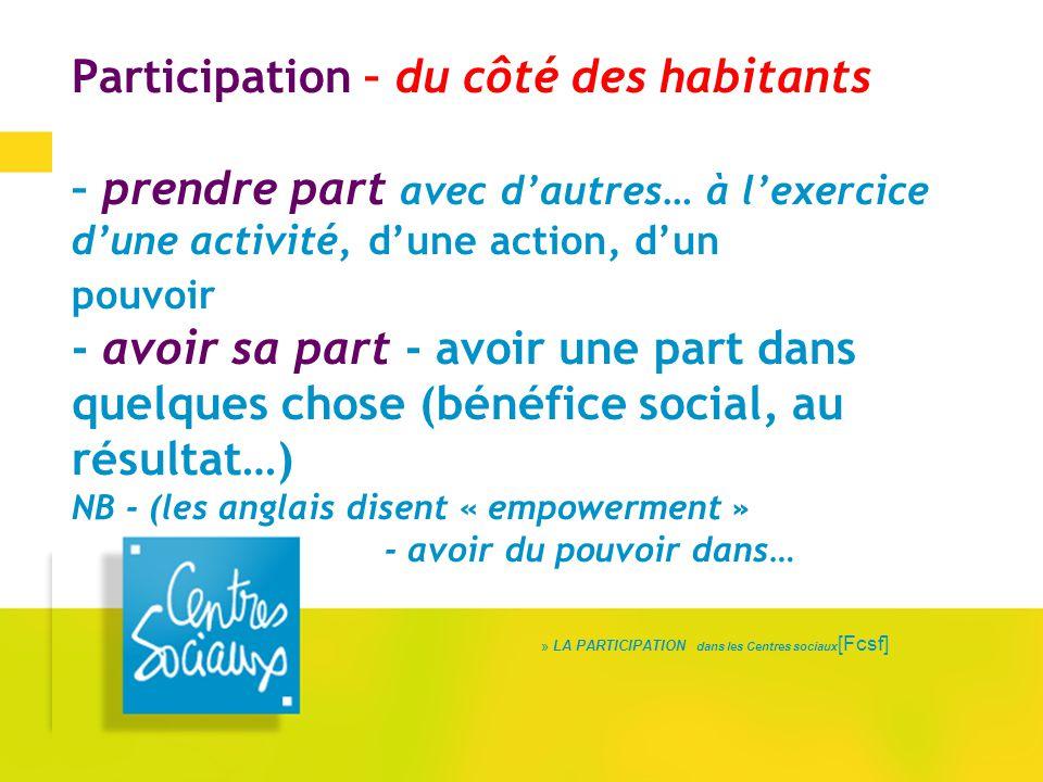 Participation – du côté des habitants – prendre part avec d'autres… à l'exercice d'une activité, d'une action, d'un pouvoir - avoir sa part - avoir un