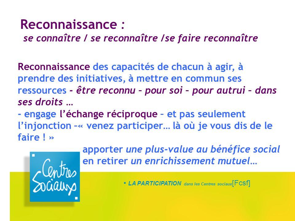 LA PARTICIPATION dans les Centres sociaux [Fcsf] Reconnaissance : se connaître / se reconnaître /se faire reconnaître Reconnaissance des capacités de