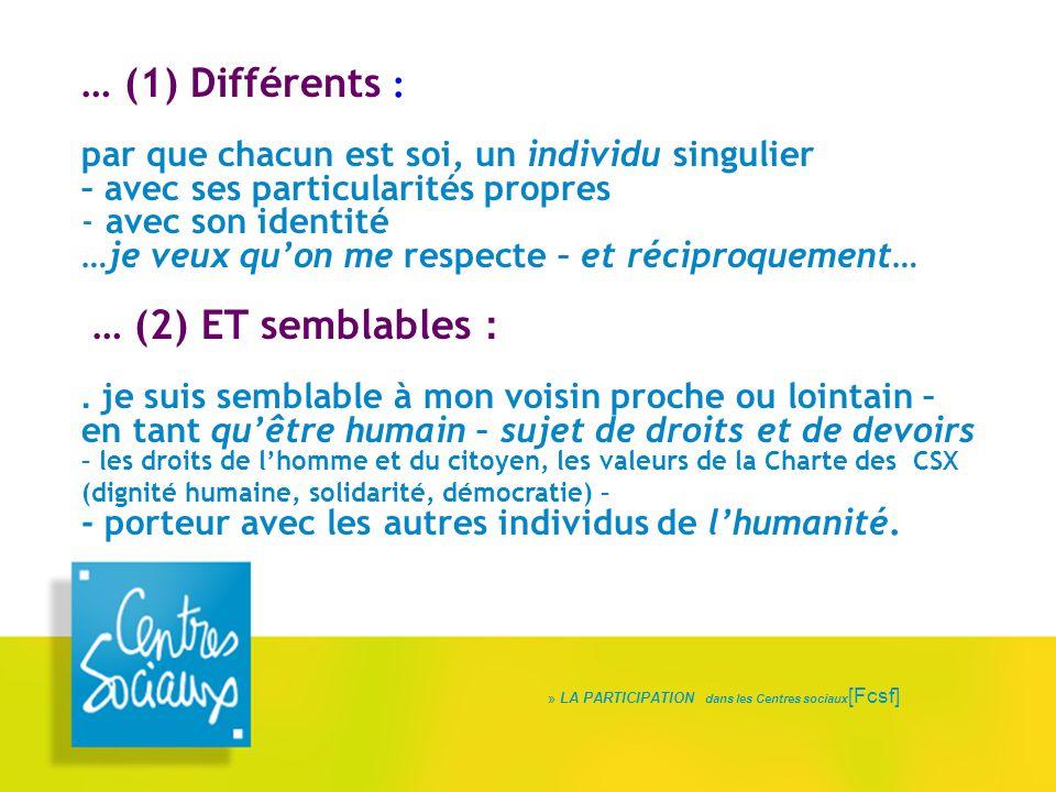 » LA PARTICIPATION dans les Centres sociaux [Fcsf] … (1) Différents : par que chacun est soi, un individu singulier – avec ses particularités propres