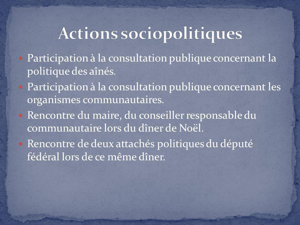 Participation à la consultation publique concernant la politique des aînés. Participation à la consultation publique concernant les organismes communa