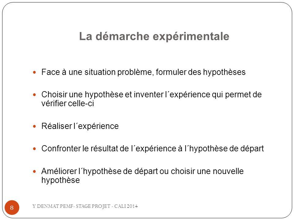 La démarche expérimentale Face à une situation problème, formuler des hypothèses Choisir une hypothèse et inventer l´expérience qui permet de vérifier