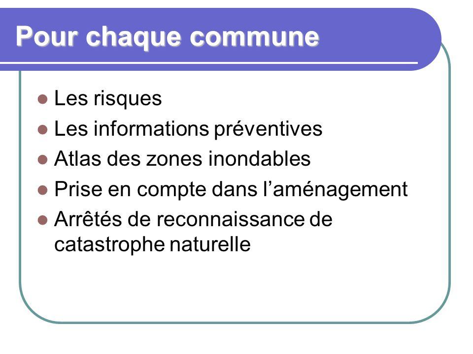 Pour chaque commune Les risques Les informations préventives Atlas des zones inondables Prise en compte dans l'aménagement Arrêtés de reconnaissance de catastrophe naturelle
