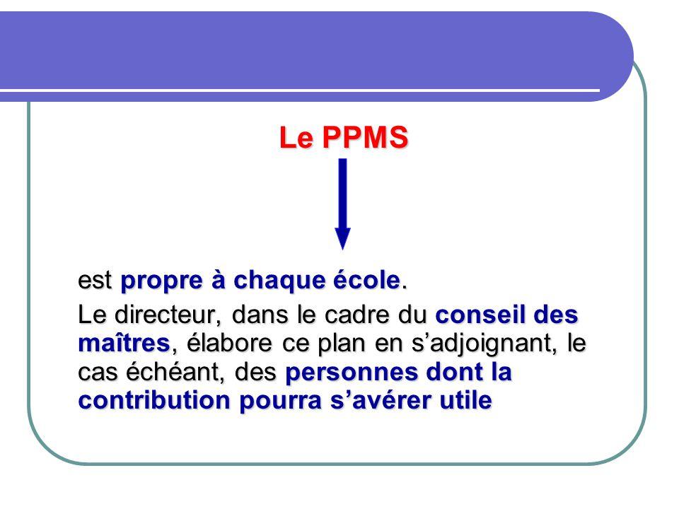 Le PPMS est propre à chaque école. Le directeur, dans le cadre du conseil des maîtres, élabore ce plan en s'adjoignant, le cas échéant, des personnes