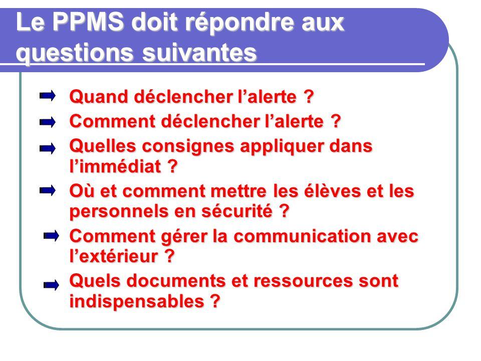 Le PPMS doit répondre aux questions suivantes Quand déclencher l'alerte .