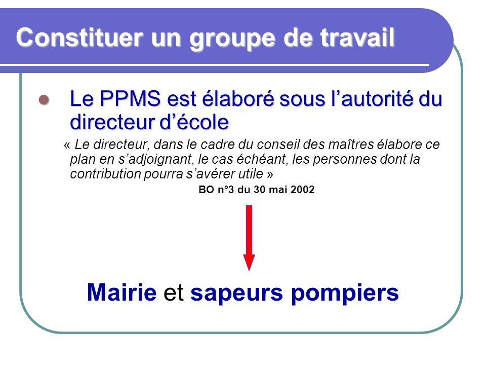 Constituer un groupe de travail Le PPMS est élaboré sous l'autorité du directeur d'école Le PPMS est élaboré sous l'autorité du directeur d'école « Le