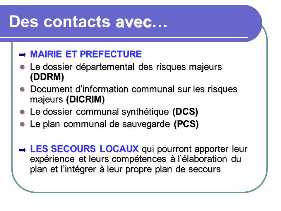 avec Des contacts avec… MAIRIE ET PREFECTURE MAIRIE ET PREFECTURE Le dossier départemental des risques majeurs (DDRM) Le dossier départemental des ris
