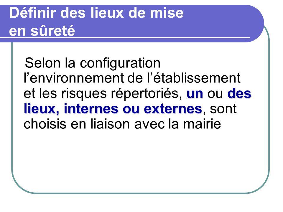 Définir des lieux de mise en sûreté undes lieux, internes ou externes Selon la configuration l'environnement de l'établissement et les risques réperto