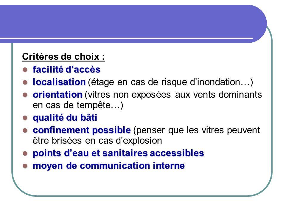 Critères de choix : facilité d'accès facilité d'accès localisation localisation (étage en cas de risque d'inondation…) orientation orientation (vitres