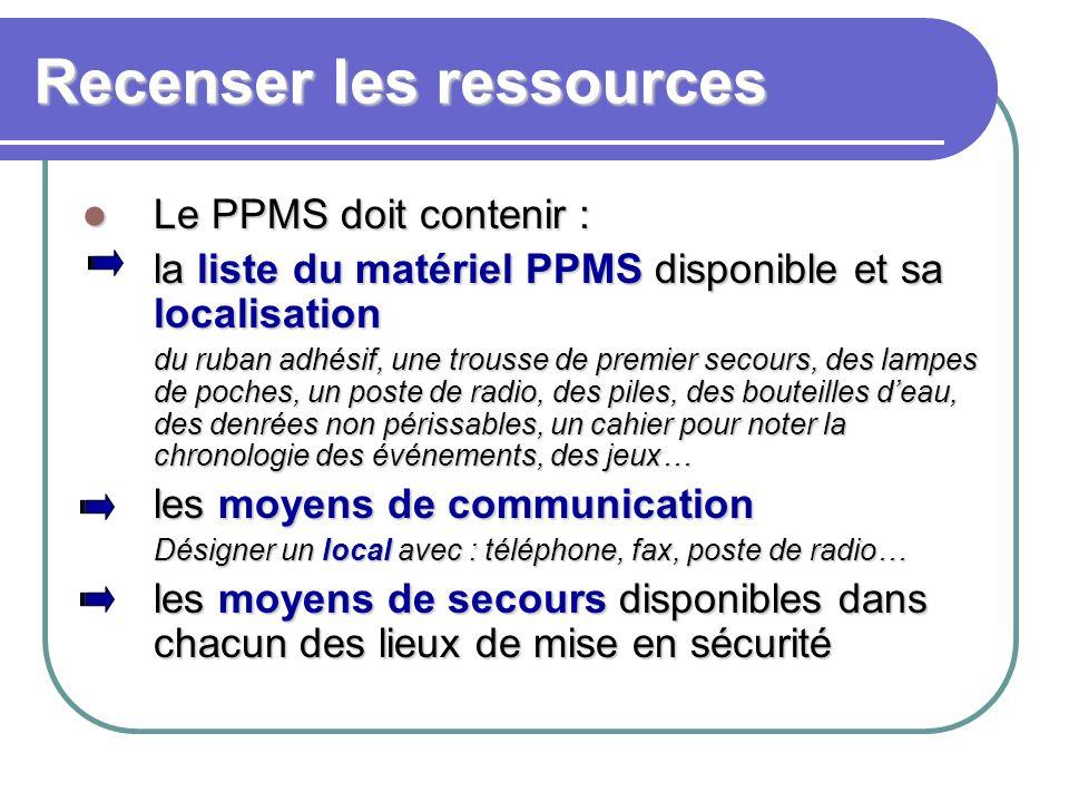 Recenser les ressources Le PPMS doit contenir : Le PPMS doit contenir : la liste du matériel PPMS disponible et sa localisation la liste du matériel P