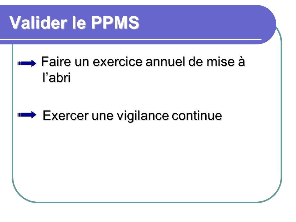 Valider le PPMS Faire un exercice annuel de mise à l'abri Exercer une vigilance continue Exercer une vigilance continue