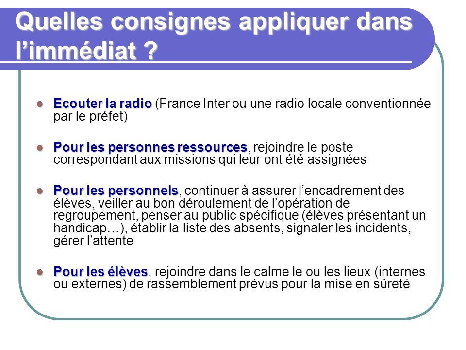 Quelles consignes appliquer dans l'immédiat ? Ecouter la radio Ecouter la radio (France Inter ou une radio locale conventionnée par le préfet) Pour le